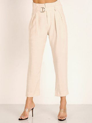 Model in opal Indah Shadow Solid High Waist Trouser with Belt