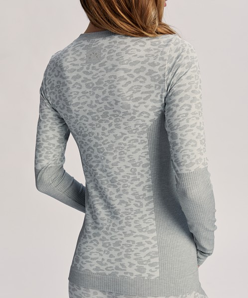 Varley Maple Crew Neck Seamless Thermal Snow Leopard