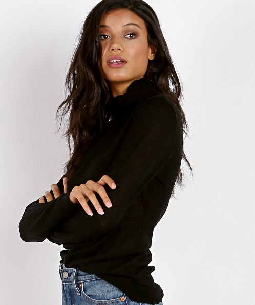 M.A.P Distressed Turtleneck Jet Black