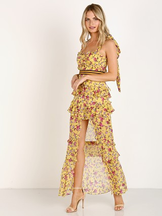 For Love & Lemons Maison Maxi Dress Yellow Floral