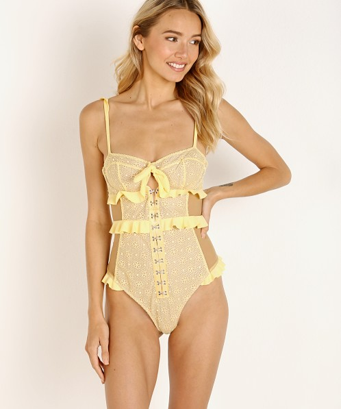 For Love & Lemons Elle Lace One Piece Lemonade