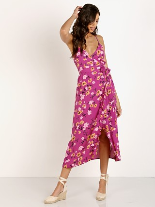 Model in berry kiss Flynn Skye Nikki Wrap Dress