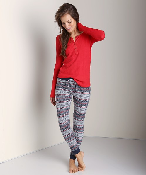 Nightcap Sweater Pant Navy/Red