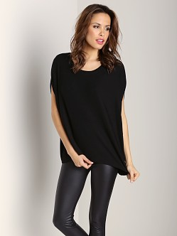 Three Dots Scoop Neck Oversized Top Black
