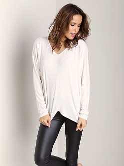 Three Dots V Neck Long Dolman Sleeve Top Gardenia