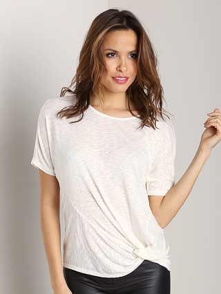 Three Dots Short Sleeve Twist Front Top White