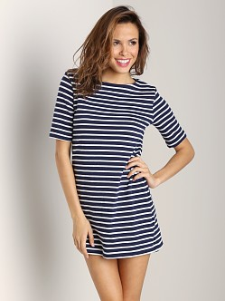 Three Dots Short Sleeve Tunic Top Evening Blue Stripe