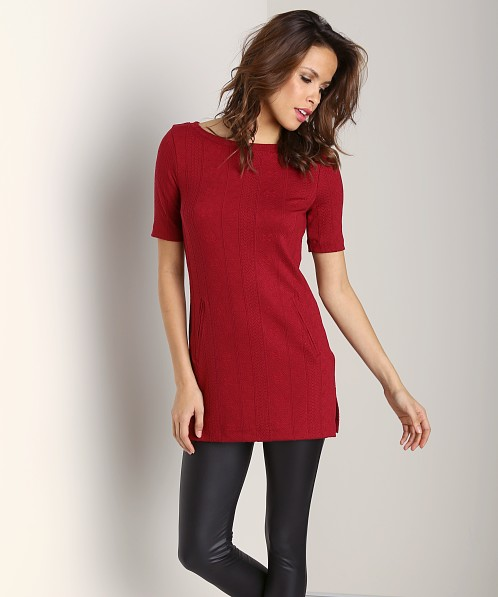 Three Dots Tunic with Side Slits Crimson