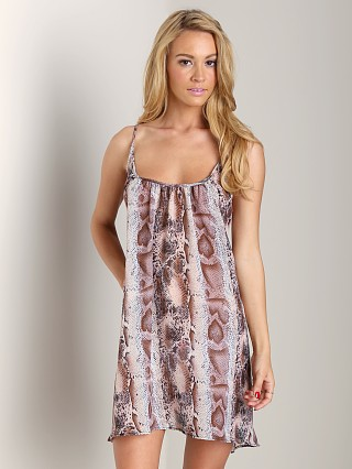 9seed Nosara Low Back Mini Dress Pink Snake Chiffon