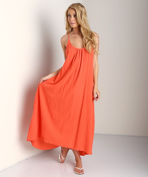 9seed Seychelles Low Back Maxi Dress Coral Guaze