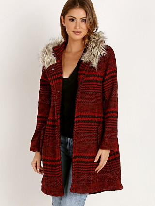 BB Dakota Play It Cool Houndstooth Jacket Cherry Red