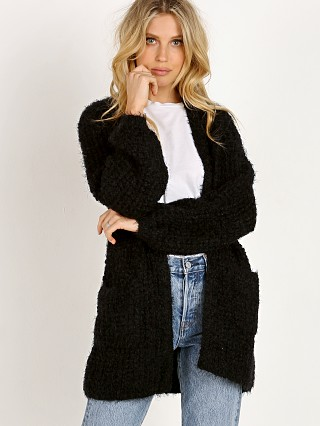 Model in black BB Dakota I've Been Busy Cardigan