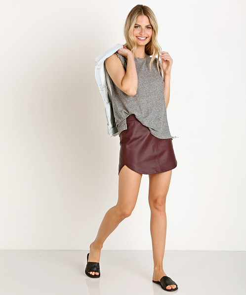 BB Dakota Conrad Leather Shirttail Mini Skirt Boysenberry