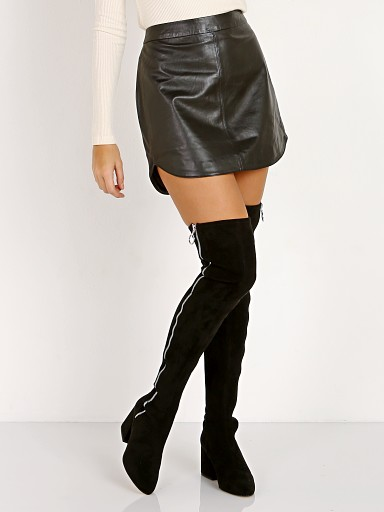 BB Dakota Conrad Leather Shirttail Mini Skirt Black