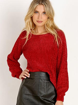 BB Dakota Smooth Sailing Crewneck Chenille Sweater Rouge