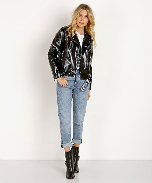 BB Dakota Its Electric Vinyl Moto Jacket Black