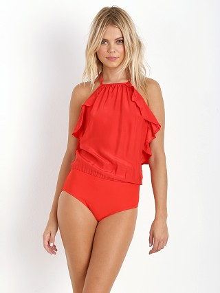 Model in red Alix Penelope Bodysuit