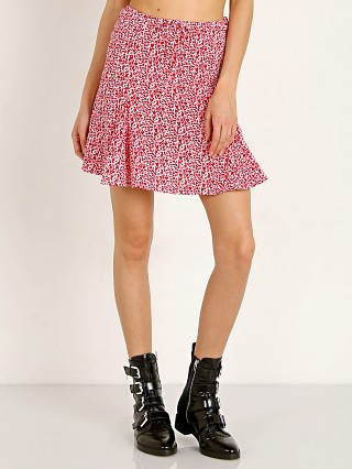 Model in red floral Rue Stiic Edie Skirt