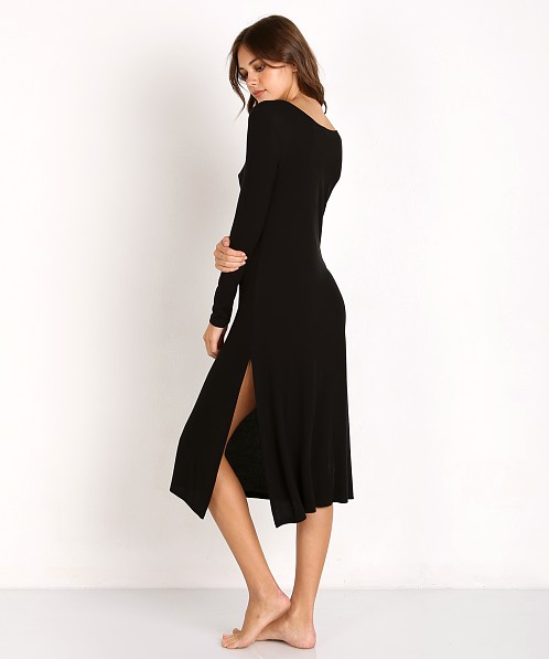 Only Hearts Featherweight Rib Long Sleeve Lounge Dress Black