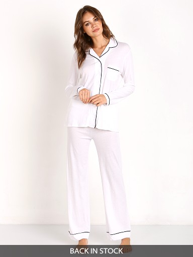 Only Hearts Organic Cotton PJ Set White w/ Black