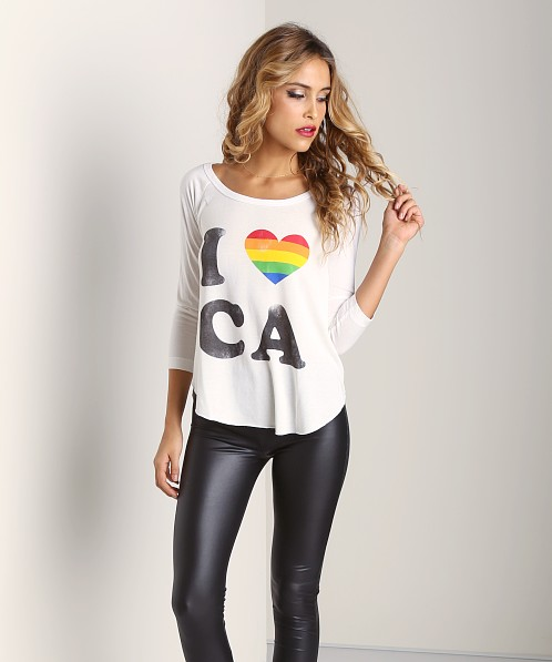 Rebel Yell I Love CA Baseball Tee White