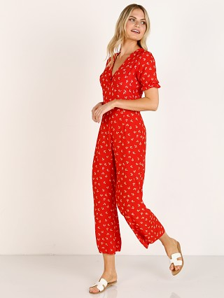 Model in jeanne print Faithfull the Brand Mallory Jumpsuit