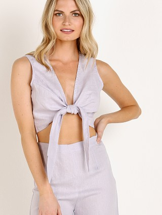 Model in plain lavender Faithfull the Brand Marcie Tie Top