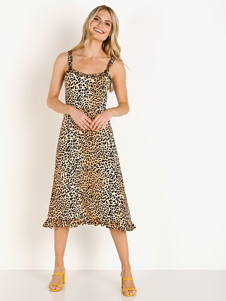 Model in le cinq animal print Faithfull the Brand Noemie Midi Dress