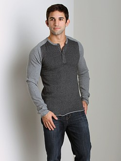 Joe's Jeans Marvin Herringbone Long Sleeve Henley Charcoal