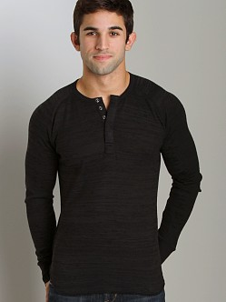Joe's Jeans Marvin Long Sleeve Henley Harvard Stripe Black