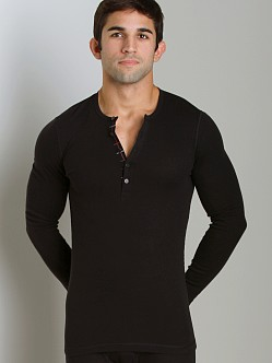 2xist Tartan Long Sleeve Henley Black