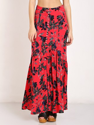 Free People Lisa Crepe Smooth Sailing Maxi Skirt Pimento