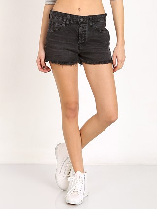 Model in blackbird Free People Rock Denim Uptown Short
