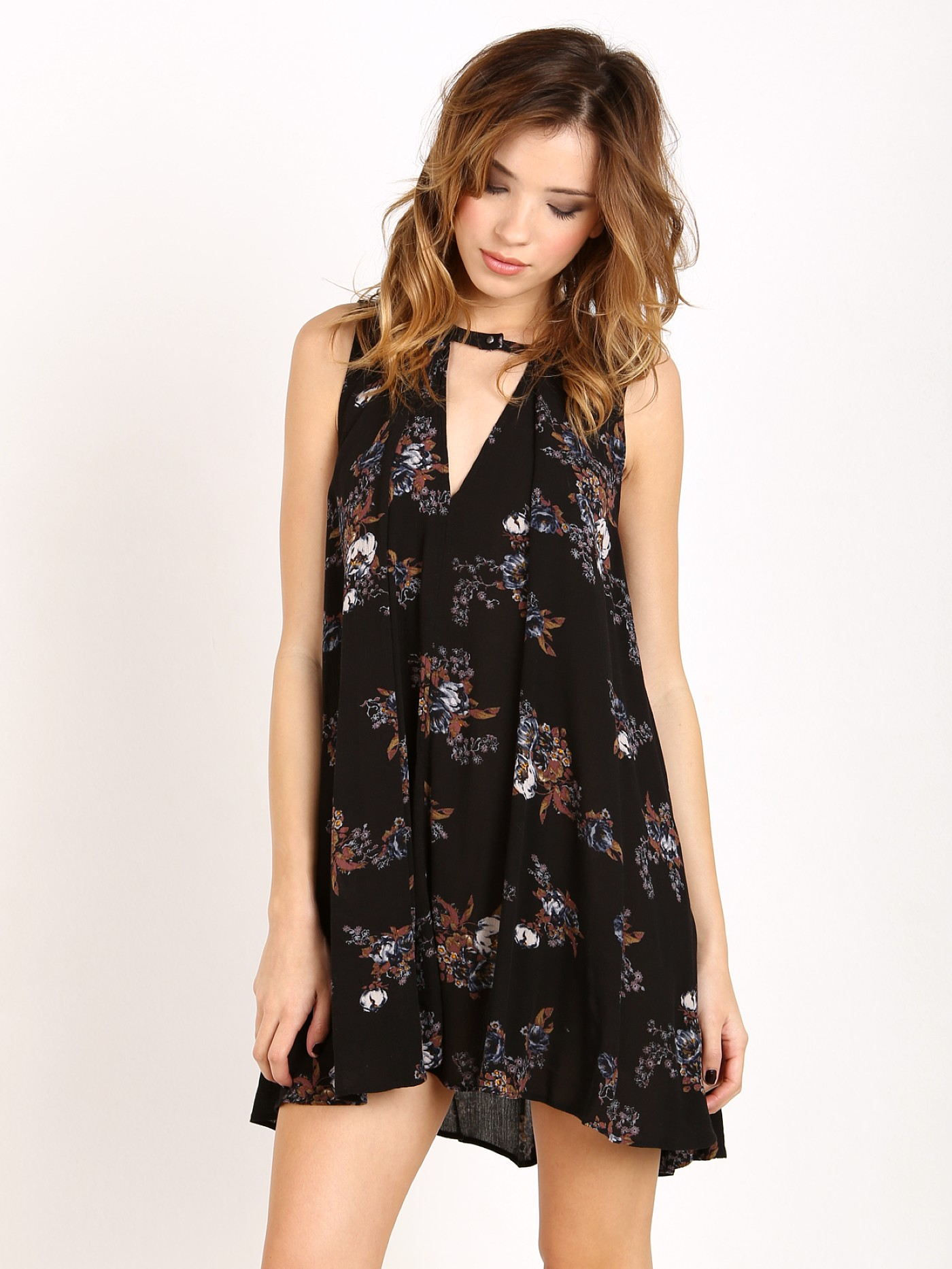 034424c32391 Free People Snap Out Of It Sleeveless Tree Swing Top Black OB413273 - Free  Shipping at Largo Drive