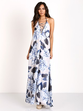 Show Me Your Mumu Logan Lace Up Maxi Bouquet Blue