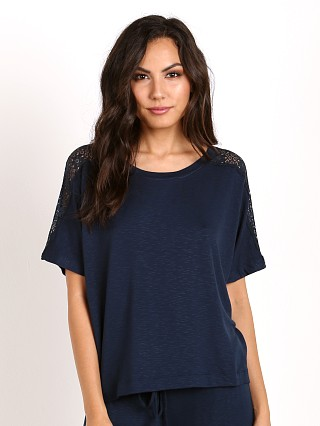 Eberjey Cara Short Sleeve Top Infinity Blue