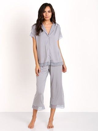 Eberjey Adela Short Sleeve Cropped PJ Set Misty Grey