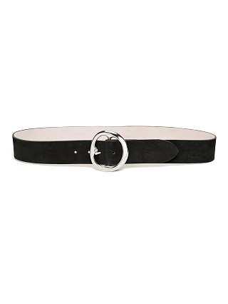 Model in black/silver B-Low The Belt Bell Bottom Nubuck Hip Belt