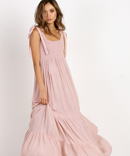Indah Doe Smocked Tank Maxi Dress Rose Blur