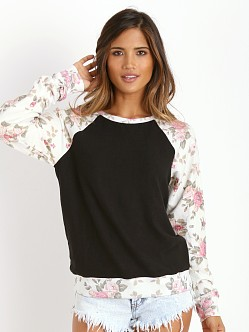 WILDFOX Black Roses Raglan White