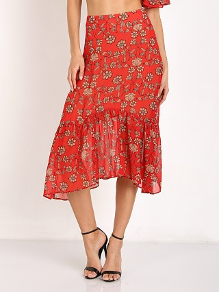 For Love & Lemons Pia Midi Skirt Red