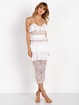 For Love & Lemons Cosmic Midi Lace Dress White