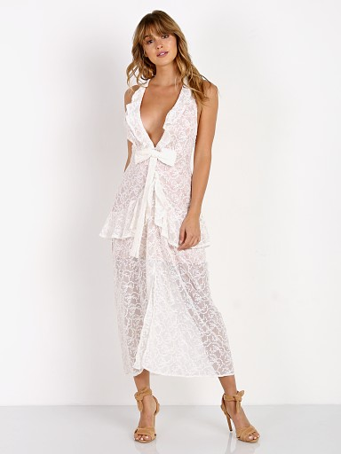 For Love & Lemons Sweet Disposition Maxi Dress Ivory Floral