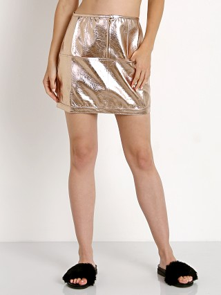 For Love & Lemons Luna Metallic Skirt Gold Metallic