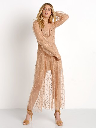 For Love & Lemons All That Glitters Maxi Dress Almond