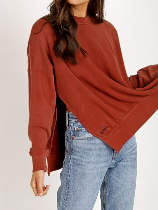 Model in rust LNA Clothing Hudson Sweatshirt