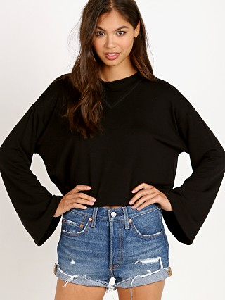 Model in black LNA Clothing Abby Crop Sweatshirt