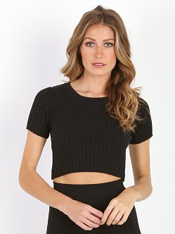 For Love & Lemons KNITZ Back to Basics Crop Top Black