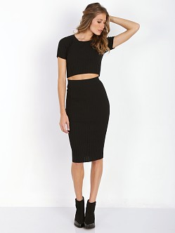 For Love & Lemons KNITZ Back to Basics Pencil Skirt Black