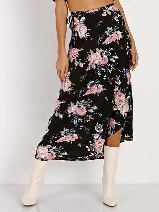 Auguste Wild Rose Maxi Wrap Skirt Black